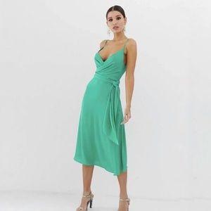 ASOS mint green wrap dress